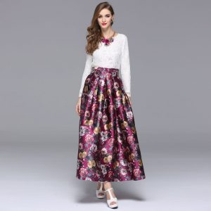 elegancka spodnica midi litera a w kwiaty