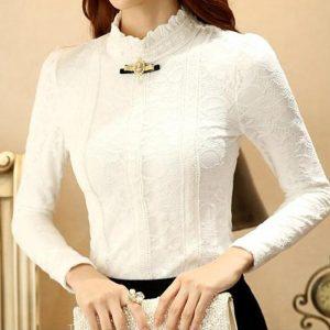 biala bluzka elegancka ze stojka do spodnicy